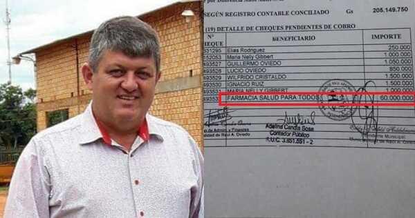 "Municipio de Raúl A. Oviedo emitió millonario cheque a nombre de una farmacia ""fantasma"""